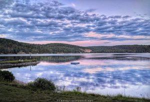 Sunset on Drag Lake at Cabins at the Domain in Haliburton Highlands