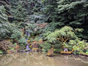 Heavenly Falls in the Strolling Pond Garden at Portland Japanese Garden in Portland, Oregon