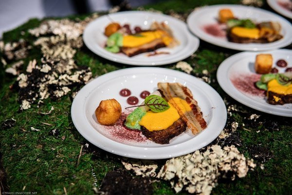 Chef Jason Oszoli from Oliver & Bonacini's dish at Canada's Great Kitchen Party in Toronto, Ontario