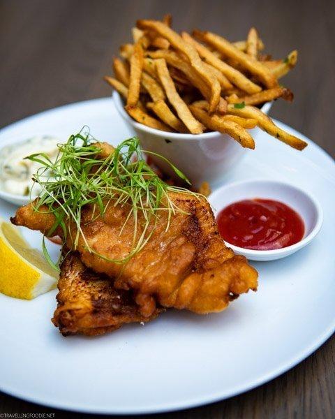 Fogo Island Cod n Chips at Sassafraz Restaurant - Toronto, Ontario
