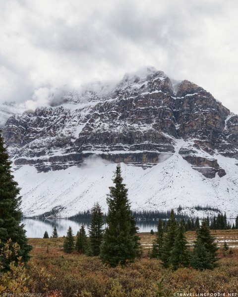 Crowfoot Mountain at Bow Lake in Icefields Parkway Overlook in Alberta, Canada