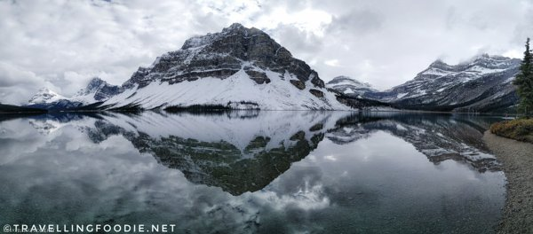Panoramic View of Bow Lake at Banff National Park, Alberta, Canada