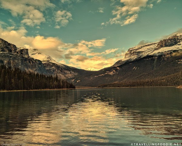 Emerald Lake with Wapta Mountain and Mount Field in Yoho National Park, British Columbia, Canada