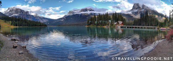 Panoramic View of Emerald Lake in Yoho National Park, British Columbia in the Canadian Rockies