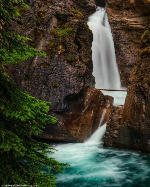 Long exposure Johnston Canyon Lower Falls at Banff National Park, Alberta, Canada