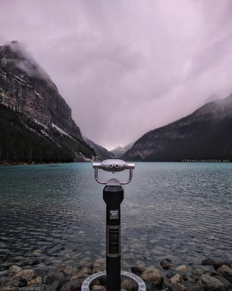 Binocular Observation Stand at Lake Louise in Banff National Park, Alberta, Canada
