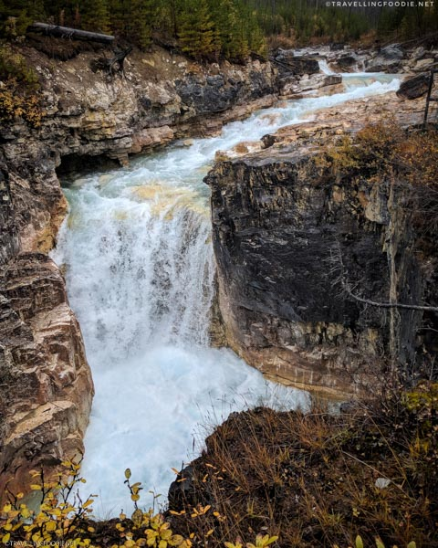 Full View Waterfalls at Marble Canyon in Kootenay National Park, British Columbia, Canada