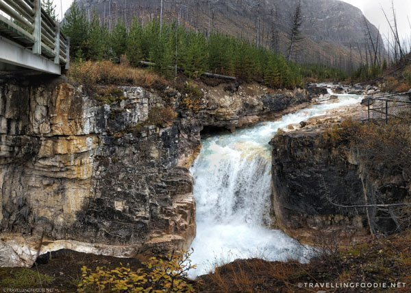 Waterfall viewpoint at Marble Canyon in Kootenay National Park, British Columbia, Canada