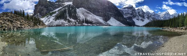 Panoramic View of Moraine Lake in Banff National Park, Alberta, Canada