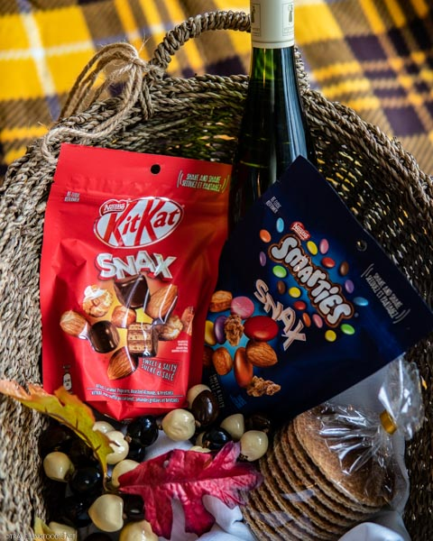 Fall Picnic Basket with KITKAT Snax, SMARTIES Snax and wine