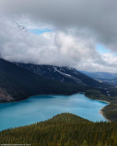 Glimpse of Mount Patterson at Peyto Lake in Banff National Park, Alberta, Canada