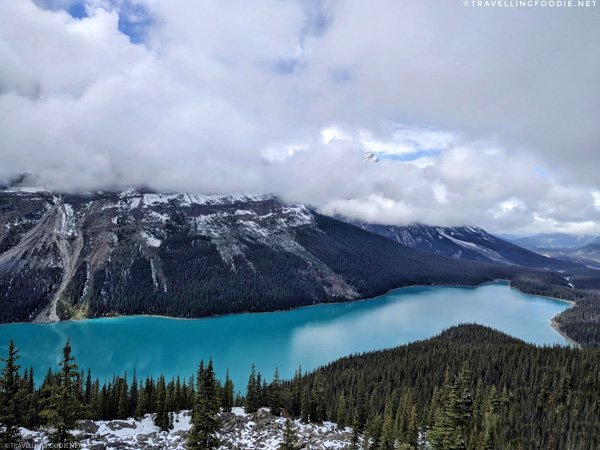 Caldron Peak and Mount Patterson over Peyto Lake in Banff National Park, Alberta, Canada