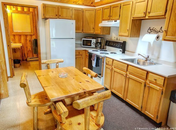 Cottage Log Suite full kitchen at Air Ivanhoe in Sudbury, Ontario