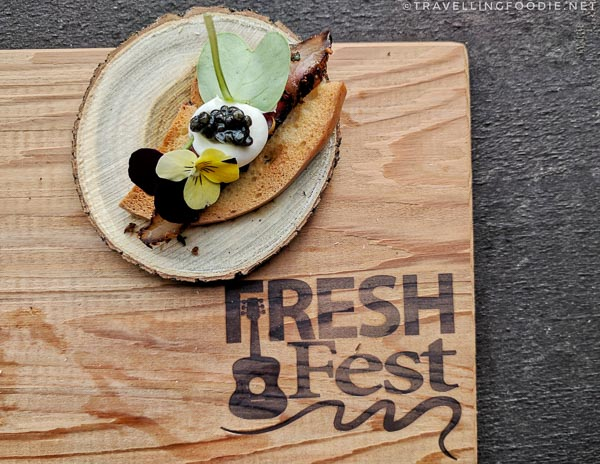 Northern Diving Sturgeon Pastrami by Rod Butters & Brock Bowes at Fresh Fest for BC Shellfish and Seafood Festival 2017 in Comox Valley, British Columbia