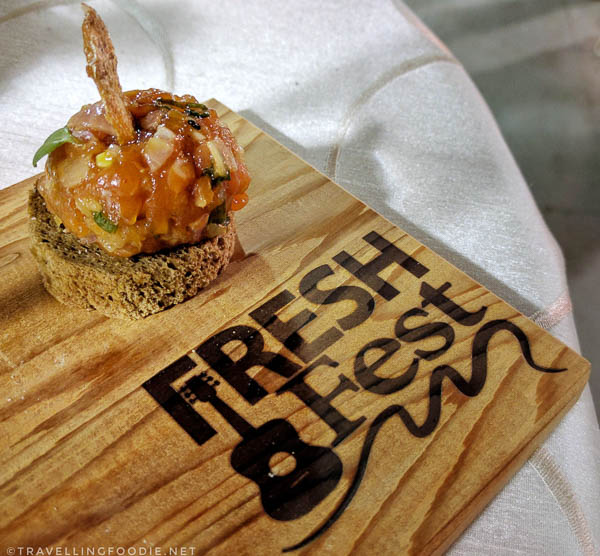 Salmon Tartare by Nyle Petherbridge at Fresh Fest for BC Shellfish and Seafood Festival 2017 in Comox Valley, British Columbia