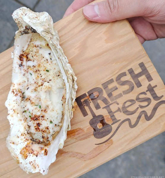 Oyster Rockefeller by Nathan Tymchuck at Fresh Fest for BC Shellfish and Seafood Festival 2017 in Comox Valley, British Columbia