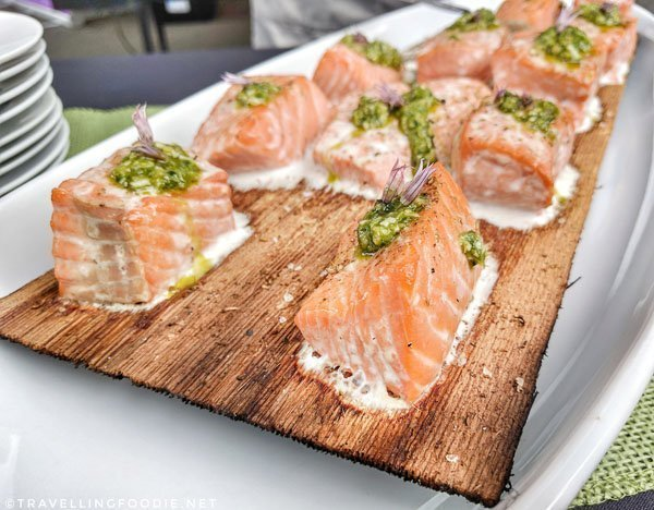 Barbecued Chinook with Pesto at BC Seafood Expo 2017 in Comox Valley, British Columbia