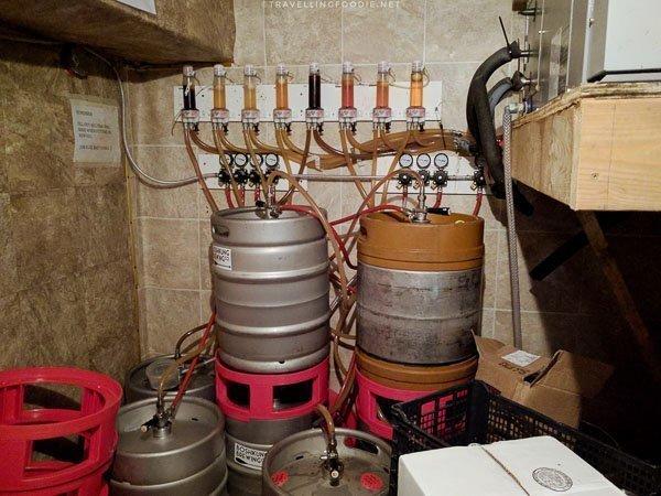 Kegs at Boshkung Brewing in Minden, Haliburton Highlands, Ontario