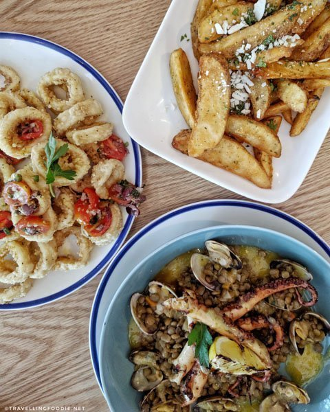 Calamari, Grilled Octopus and Greek Fries at Broken Plate in Calgary, Alberta