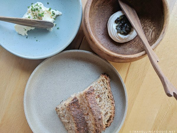 Flatlay Homemade Sourdough Bread at Canis Restaurant Toronto