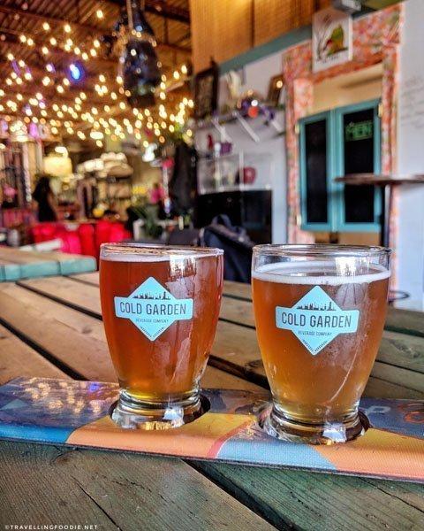Beer Flight at Cold Garden Brewery in Calgary, Alberta