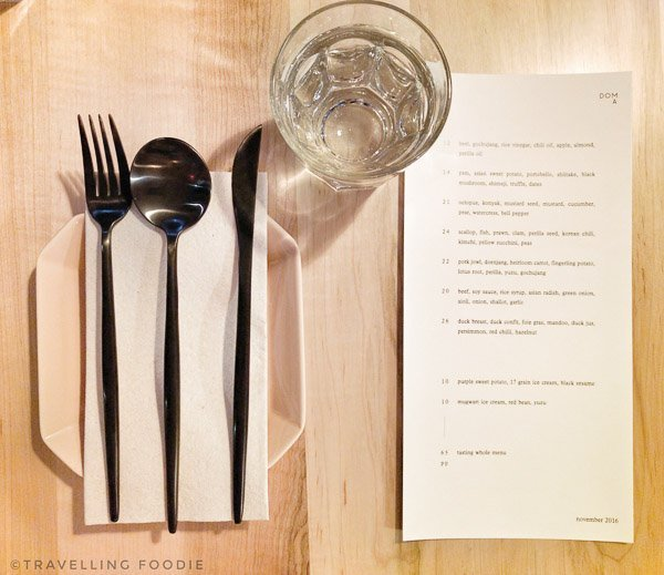 Table Menu at Doma in Toronto, Ontario