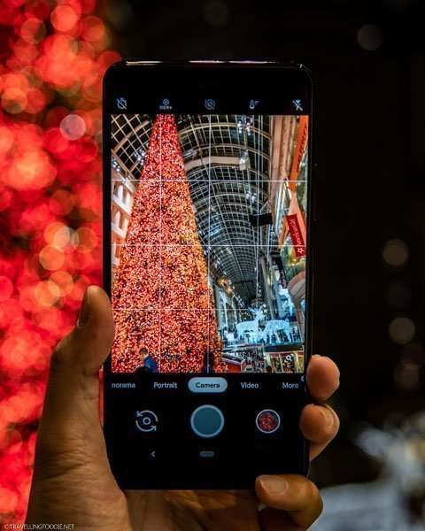 Google Pixel 3 Phone-ception of Toronto's Largest Christmas Tree at the Eaton Centre