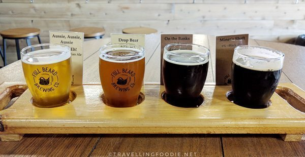 Beer Flight at Full Beard Brewing in Timmins, Ontario