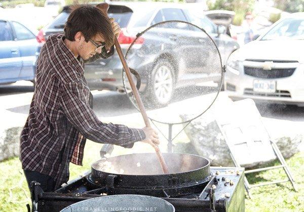 Ben making Kettle Corn at Haliburton County Farmers' Market in Haliburton, Ontario