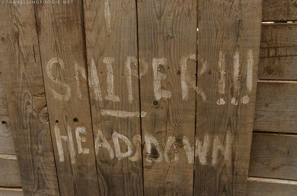 Snipers Heads Down written in Trench in Halifax Citadel, Nova Scotia
