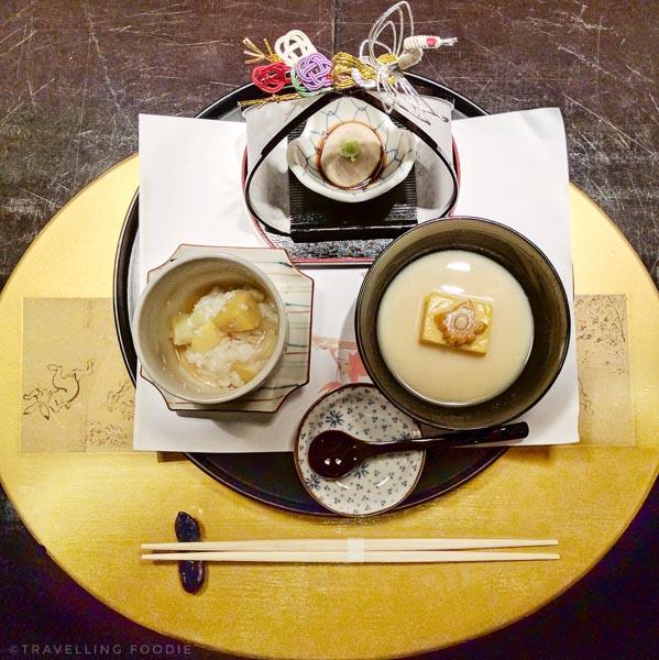 Rice Porridge Onjyaku-zen (Amuse Bouche) at Kaiseki Yu-zen Hashimoto in Toronto, Ontario