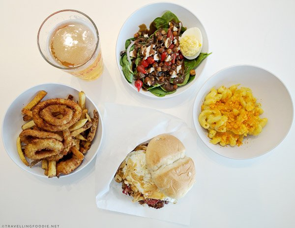 Krave Lager, Spinach Salad, Mac and Cheese, Barnyard Burger, Best of Both from Krave Burger in Halifax