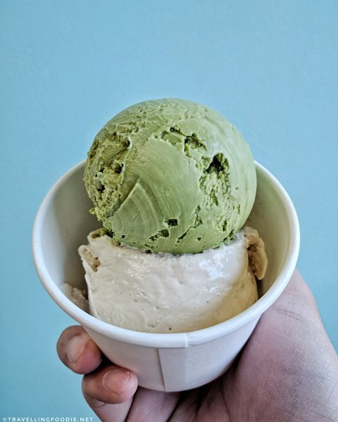 Matcha and Whskey Hazelnut Ice Cream at Made By Marcus in Calgary, Alberta