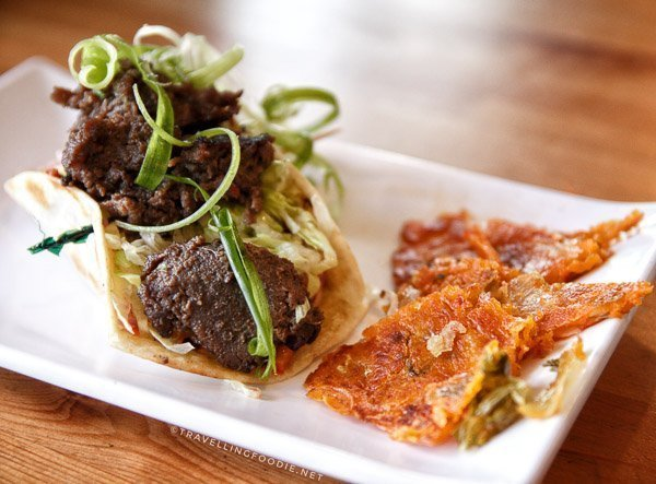 Korean Kimchi Taco with Bulgogi at Maple Avenue Tap and Grill in Haliburton, Ontario
