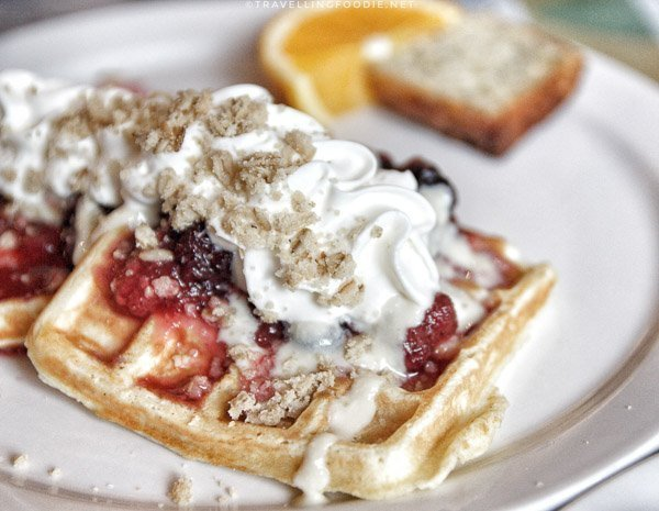 Belgian Waffles at Molly's Bistro Bakery at Minden, Ontario