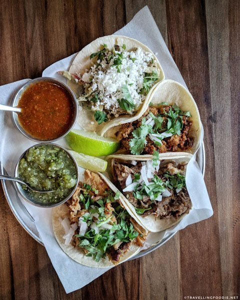 Suadero, Carnitas, Chorizo and Feature Tacos at Native Tongues Taqueria in Calgary, Alberta