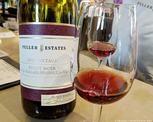 2016 Vintage Pinot Noir at Peller Estates Winery in Niagara-on-the-Lake, Ontario