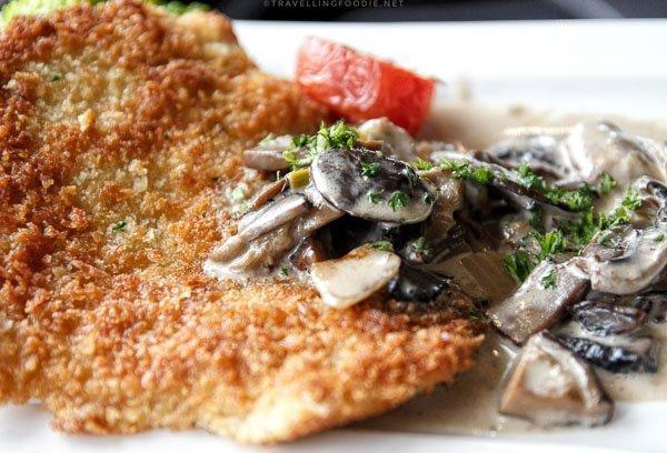 Pork Schnitzel with Mushroom Sauce at Rhubarb Restaurant in Minden, Ontario
