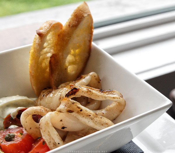 Grilled Calamari at Rhubarb Restaurant in Minden, Ontario