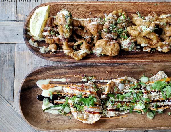 Calamari Pakora and Chicken Crisps from Studio East Food + Drink in Halifax