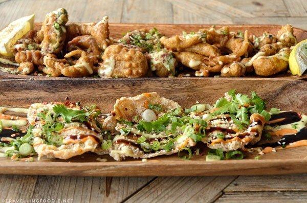 Calamari Pakora and Chicken Crisps from Studio East Food + Drink in Halifax (top shot)