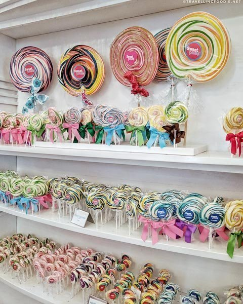 Different sizes of lollipops in Sweete Pate's Candy in Jacksonville, Florida