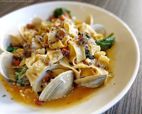 Clams Tagliatelle at The Barbadoes Room in The Mills House Wyndham Grand Hotel in Charleston, South Carolina