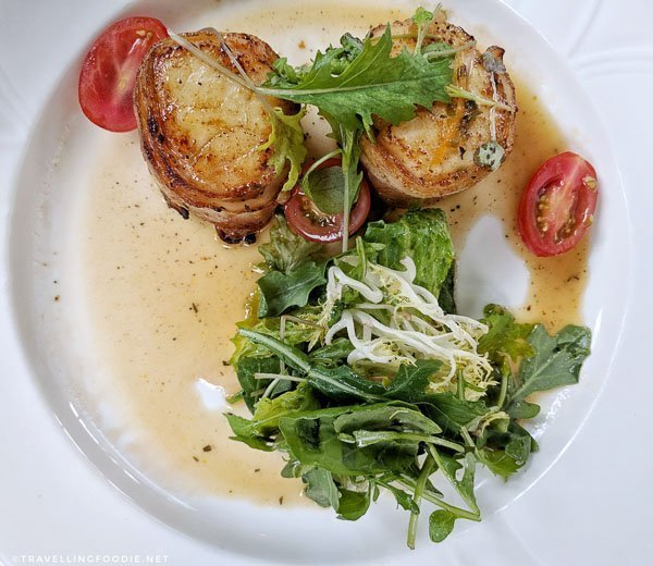 Bacon Wrapped Filled Diver Scallops at The Elm Hurst Inn and Spa in Ingersoll, Oxford County, Ontario