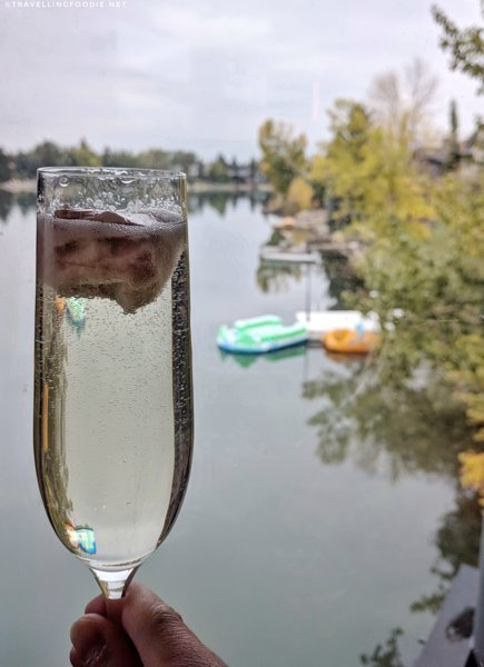 Peach Sorbet Bellini at The Lake House in Calgary, Alberta