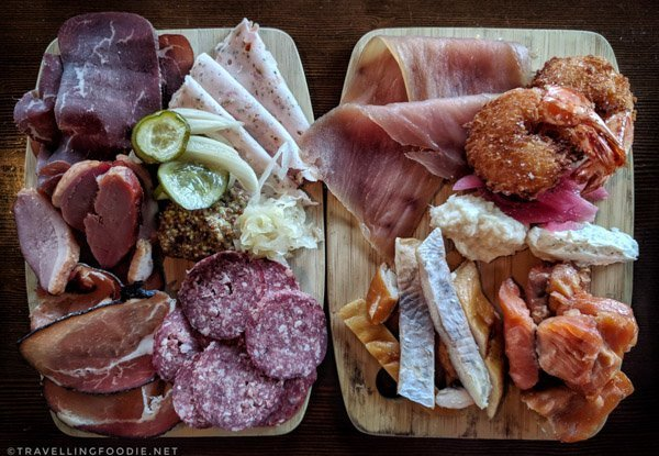 Charcuterie Board and Fish Plank at The Lake House in Calgary, Alberta