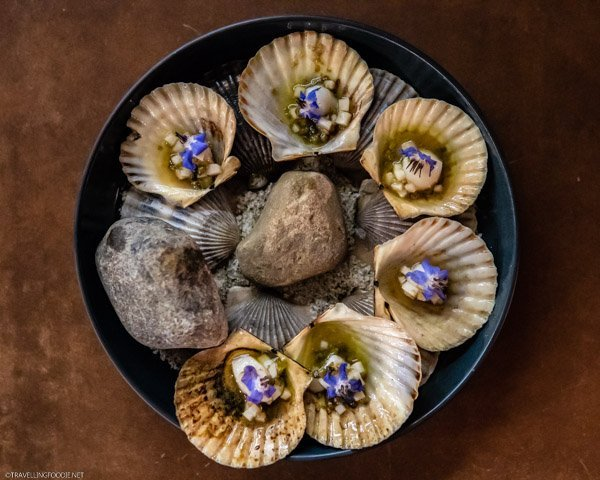 Grilled Bay Scallops from The Restaurant at Pearl Morissette in Jordan, Ontario