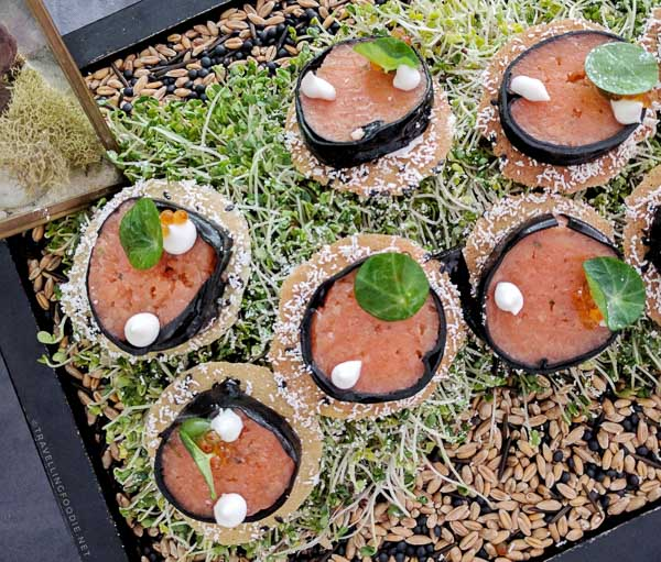 Smoked Salmon Tartar Canapés from Bosk - Shangrila Hotel Toronto