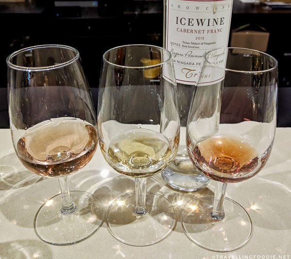 Trius Rose, Showcase Riesling Icewine and Showcase Cabernet Franc Icewine at Trius Winery in Niagara-on-the-Lake, Ontario