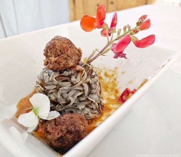 Wild Boar Meatball with sweet curry sauce on wild rice